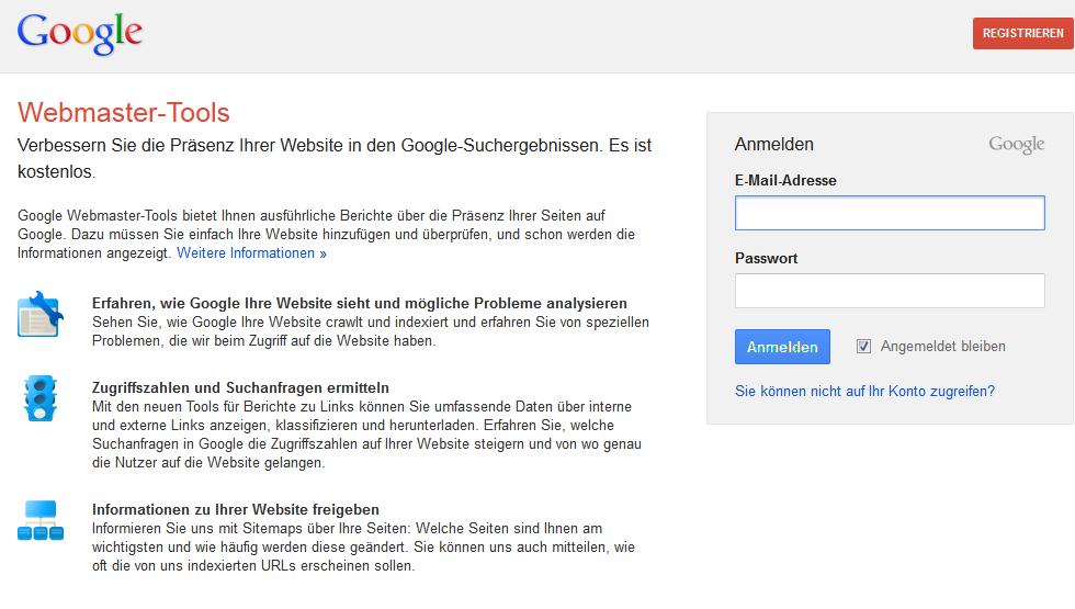 Google Webmaster Tools - Anmeldung