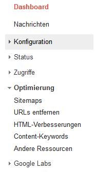 Google Webmaster Tools - Aufbau