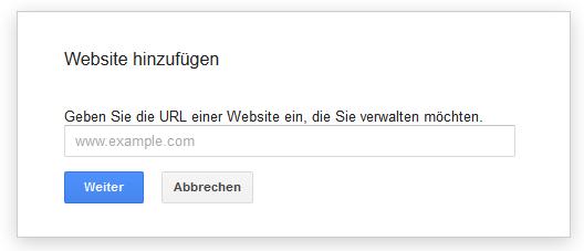 Google Webmaster Tools - Seite hinzufügen